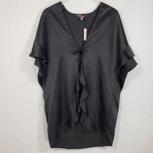 Victoria's Secret Black Front Ruffle Satin Robe